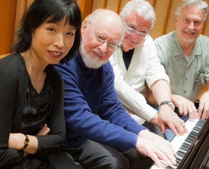 Gloria Cheng at the piano with John Williams, Randy Newman and Don Davis (photo by lefterisphoto.com)