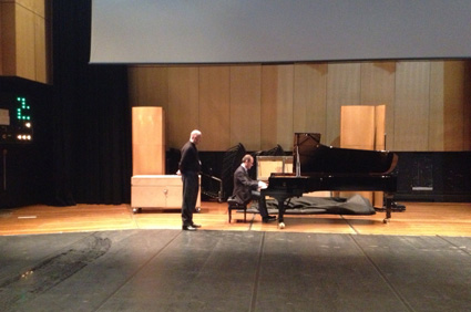 Piano Street's Patrick Jovell trying the Double Action Steinway D on stage at Queen Elisabeth Hall.