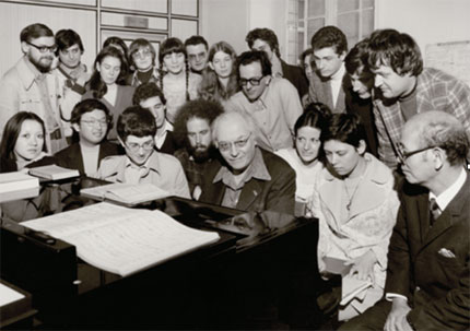 Messiaen with students at the Paris Conservatoire