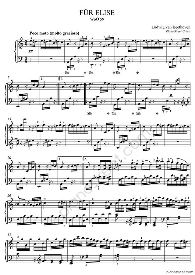 fur elise piano tab: