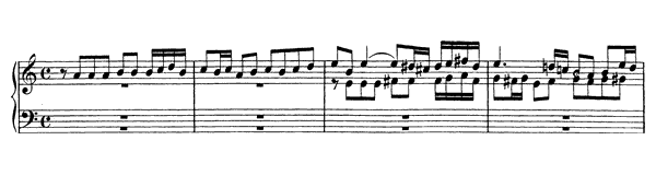 Fugue in A minor BWV 947  in A Minor by Bach piano sheet music