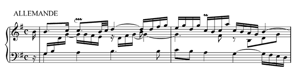 piano sheet music of French Suite