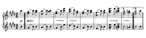 Waltz Op. 39 No. 2  in E Major by Brahms piano sheet music