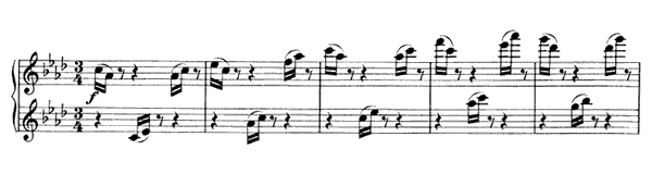 Waltz - For Four Hands Op. 52 No. 13  in A-flat Major by Brahms piano sheet music
