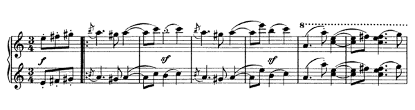 Waltz - For Four Hands Op. 52 No. 2  in A Minor by Brahms piano sheet music