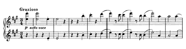 Waltz - For Four Hands Op. 52 No. 6  in A Major by Brahms piano sheet music