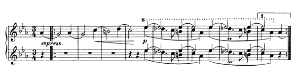 Waltz - For Four Hands Op. 52 No. 7  in A-flat Major by Brahms piano sheet music