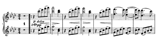 Waltz - For Four Hands Op. 52 No. 8  in A-flat Major by Brahms piano sheet music