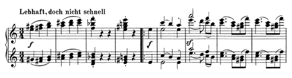 Waltz - For Four Hands Op. 65 No. 1  in A Minor by Brahms piano sheet music