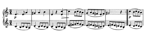 Waltz - For Four Hands Op. 65 No. 2  in A Minor by Brahms piano sheet music