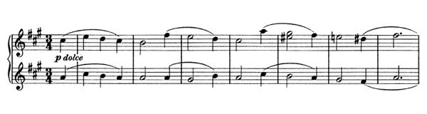 Waltz - For Four Hands Op. 65 No. 3  in A Major by Brahms piano sheet music