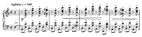 piano sheet music of Etude