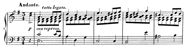 Andante Op. 2 No. 1  in G Major by Mendelssohn-Hensel piano sheet music