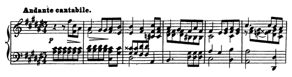 Andante cantabile Op. 6 No. 3  in F-sharp Major by Mendelssohn-Hensel piano sheet music