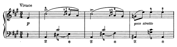 Vivace Op. 28 No. 3  in A Major by Grieg piano sheet music