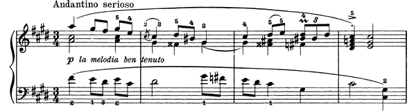 Andantino serioso Op. 28 No. 4  in C-sharp Minor by Grieg piano sheet music