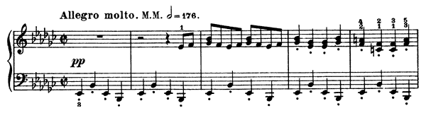Puck Op. 71 No. 3  in E-flat Minor by Grieg piano sheet music