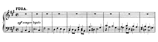 Fugue: Serious, with Increasing Vivacity Op. 7 No. 5  in A Major by Mendelssohn piano sheet music