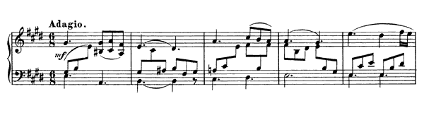 Adagio (D. 612)   in E Major by Schubert piano sheet music