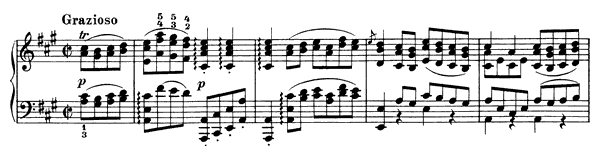 Transcription of a Gavotte by Gluck   in A Major by Brahms piano sheet music