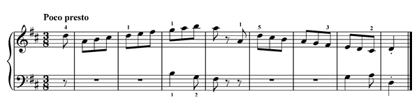 Fingers Under and Over  No. 5  in D Major by Türk piano sheet music